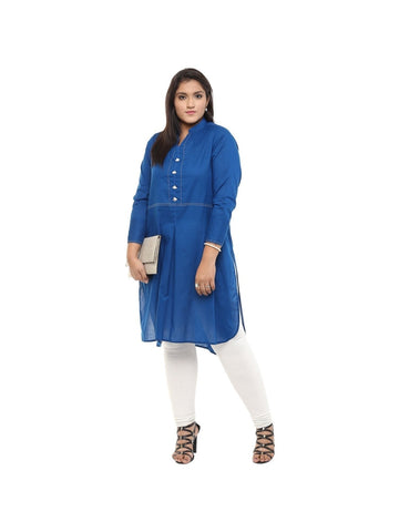 (5XL) Designer Plus Size Collection of Cotton Kurti in Blue Color
