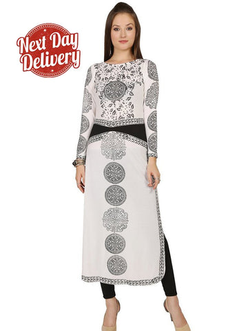 (L Size) Latest white black polyester knitted stretchable printed long kurti