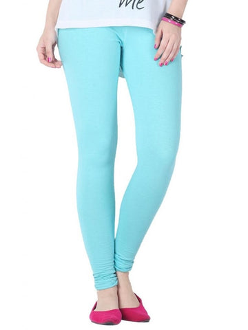 Light Sky Blue Cotton Lycra Leggings - PurpleTulsi.com