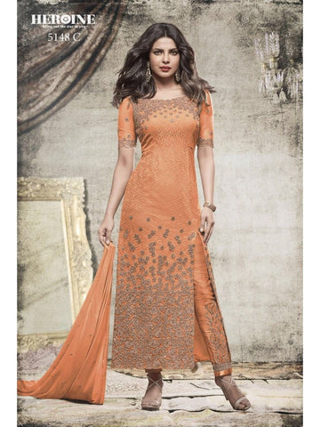 Priyanka Chopra Net Embroidered Fabulous Light Orange Color Suit