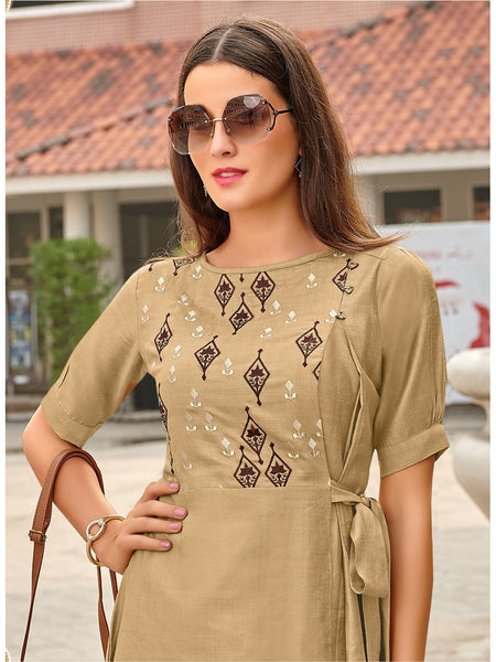 Designer and Beautiful Beige Color Straight Cut Kurti