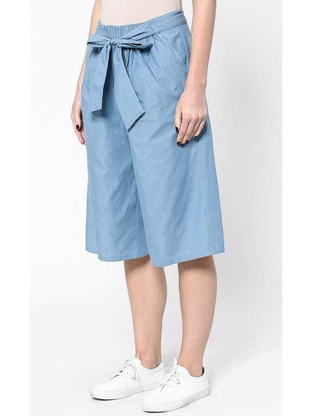 Waist-Tie Culottes in Denim Blue