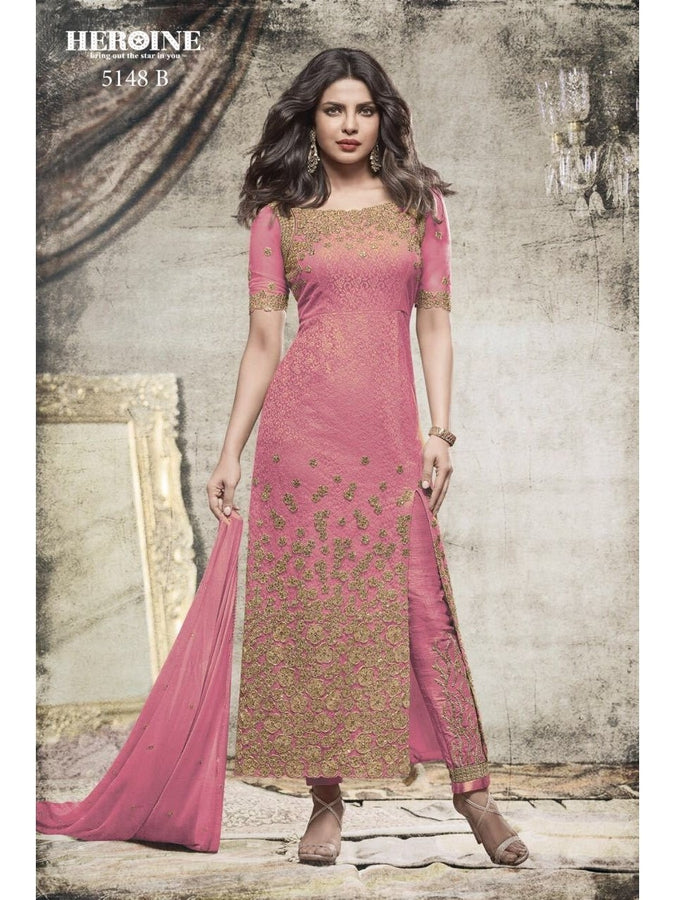 Priyanka Chopra Net Embroidered Fabulous Light Pink Color Suit