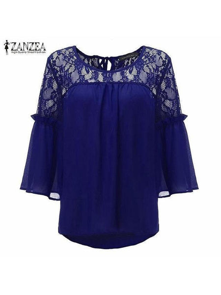 Chiffon Patchwork Lace Top