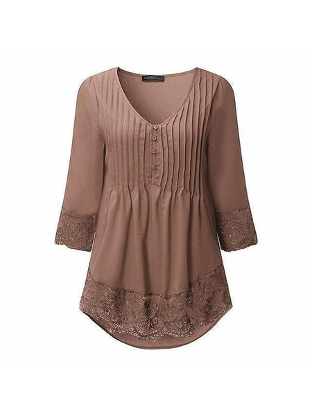 V Neck 3/4 Sleeve Irregular Top
