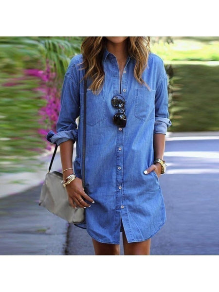 Casual Loose Long Sleeve Button Shirt Dresses