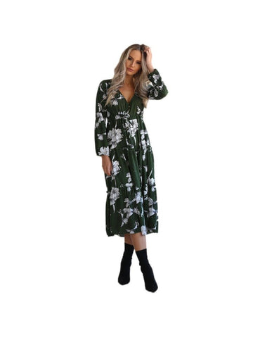 Floral Casual Party Mid-Calf Dress