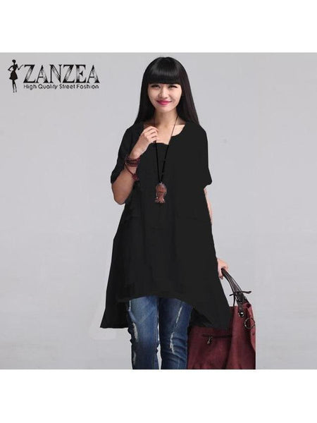 Solid Blouse Irregular Top