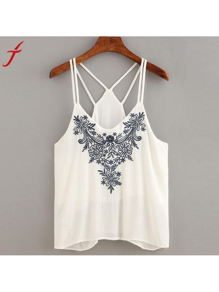 bd5646ffed3 Embroidery Women Cami Crop Tops Flower Printing Strappy Top Camisole S –  PurpleTulsi.com