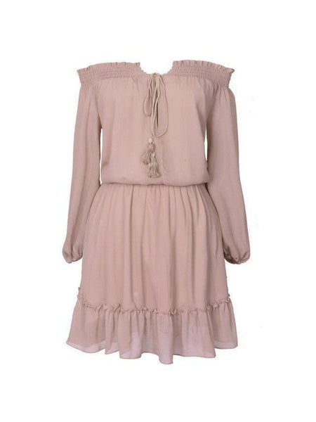 Casual Loose Long Sleeve Chiffon Dress