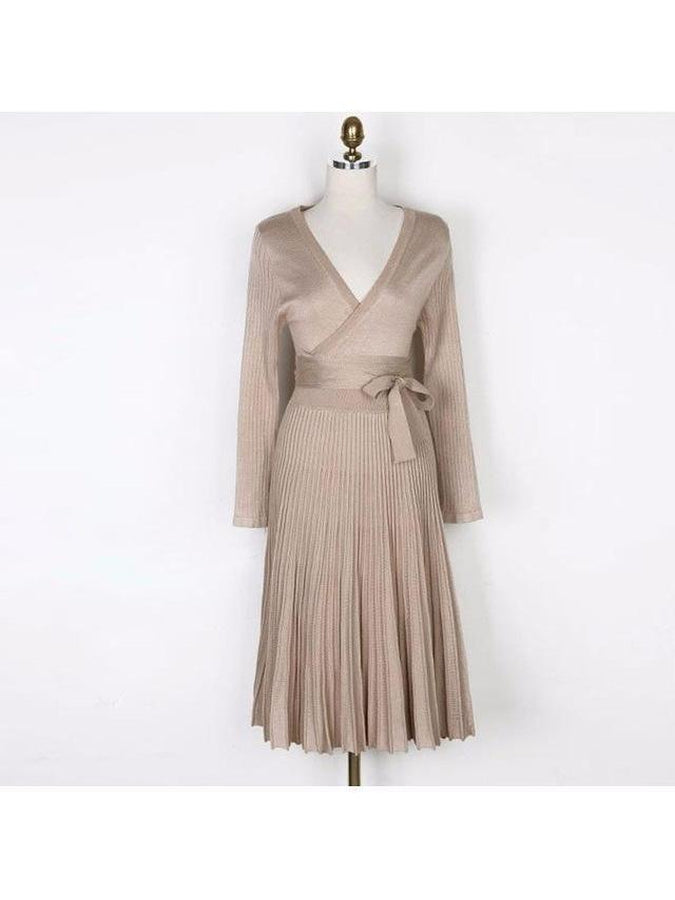 A-line Deep V Neck Belted Pleated Vintage Dress