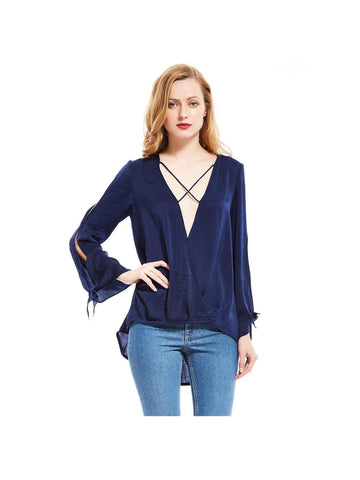 Royal Blue Solid Color Day Top
