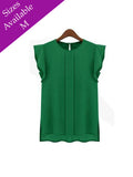 Women Casual Loose Chiffon Short Tulip Sleeve Blouse Shirt Top