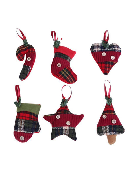 6Pcs/set Navidad Decoracion Hanging Pendant Drops Socks Crutch Xmas Ornament Christmas Decoration for Home New Year Gifts