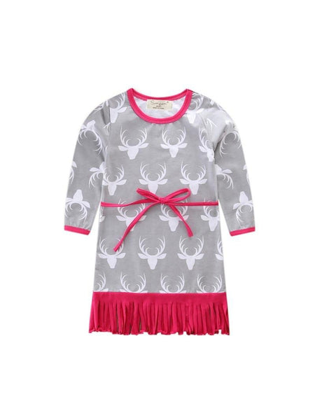 Baby Girls Christmas Dresses Deer Stripes Elk Long Sleeves Dress Birthday Christmas Santa Claus Kids Clothing 1-6Y