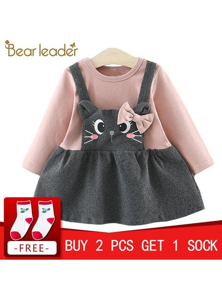 Baby Bow Cat Face Princess Dress Christmas Dress  Baby Girl Winter Clothes Dress