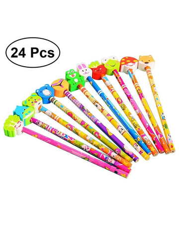 24pcs Cute Graphite Bulk Pencil with Cartoon Animal Erasers Party Favors Loads of Party Boot Bag Perfect Birthday Christmas Gift for Children Kids ((Mixed Styles and Colors)