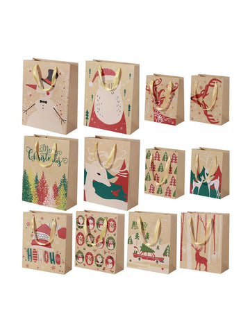 24pcs Kraft Paper Bags with Handle Party Gift Bag Christmas Favor Present Bag Wrapping Bags