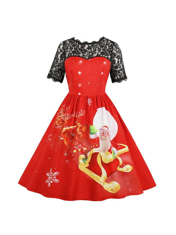 Women Xmas Christmas Lace Short Sleeve Evening Party Dress Swing Dress