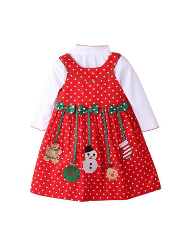 Princess Dress Girls Autumn Polka Dots Christmas Set Long Sleeve T-shirt