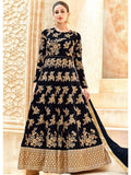 Designer Black Color Tafetta Silk Anarkali Suit Gown