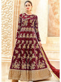Designer Maroon Color Tafetta Silk Anarkali Suit Gown