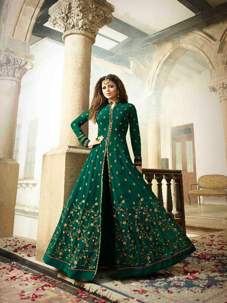 Designer Bottal Green Color Heavy Embroidered Work Anarkali Suit