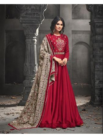 Designer Red Color Heavy Embroidered Work Anarkali Suit