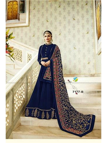 Designer Blue Color Heavy Embroidered Work Anarkali Suit