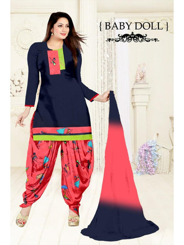 Designer Dark Blue Color Cotton Patiala Suit