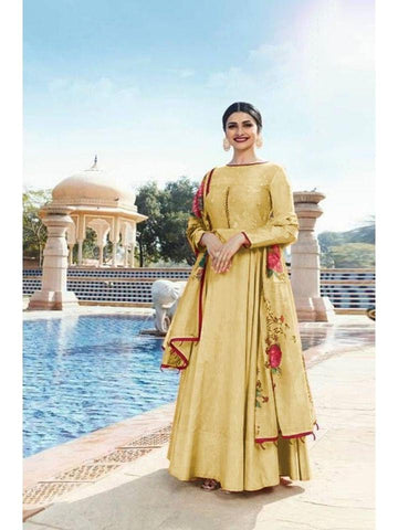 Designer Yellow Color Heavy Sana Silk Embroidered Anarkali Suit