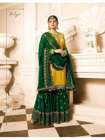 Designer Yellow and Green Color Heavy Faux Georgette Embroidered A- Line Straight Cut Suit