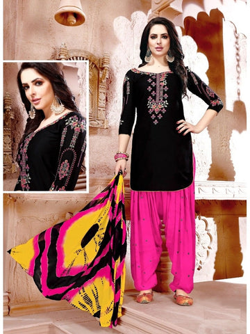 Designer Black and Pink Color Glaze Cotton With Embroidered Patiala Suit