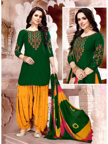 Designer Green and Yellow Color Glaze Cotton With Embroidered Patiala Suit