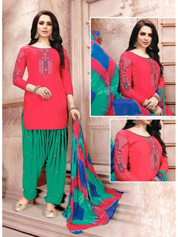 Designer Pink and Green Color Glaze Cotton With Embroidered Patiala Suit