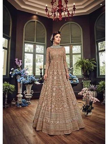 Designer Peach Color Net with Embroidery Work Anarkali Suit