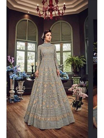Designer Grey Color Net with Embroidery Work Anarkali Suit