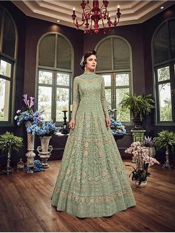 Designer Light Green Color Net with Embroidery Work Anarkali Suit