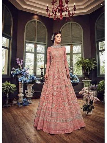 Designer Orange Color Net with Embroidery Work Anarkali Suit