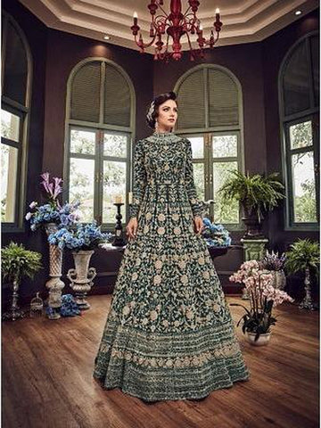 Designer Bottal Green Color Net with Embroidery Work Anarkali Suit