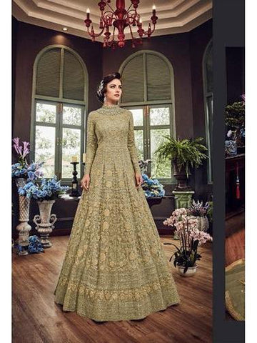 Designer Light Yellow Color Net with Embroidery Work Anarkali Suit