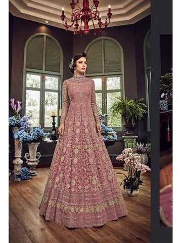 Designer Light Pink Color Net with Embroidery Work Anarkali Suit