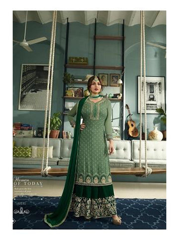 Designer Green Color Heavy Faux Georgette with Embroidery Work Straight Cut Suit