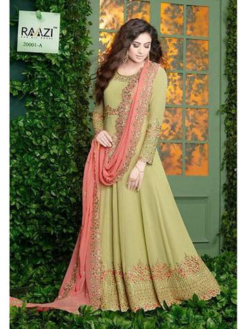 Designer Light Green Color Fox Georgette With Embroidery Work Anarkali Suit