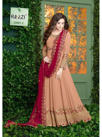 Designer Peach Color Fox Georgette With Embroidery Work Anarkali Suit