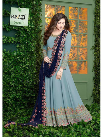 Designer Blue Color Fox Georgette With Embroidery Work Anarkali Suit
