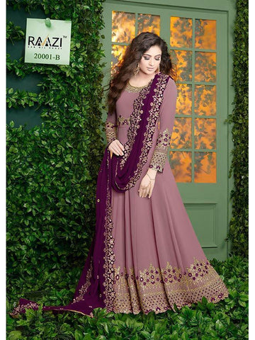 Designer Light Purple Color Fox Georgette With Embroidery Work Anarkali Suit