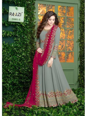 Designer Grey Color Fox Georgette With Embroidery Work Anarkali Suit