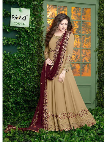 Designer Beige Color Fox Georgette With Embroidery Work Anarkali Suit
