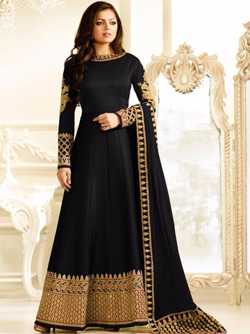 Designer Black Color Georgette With Embroidery & Stone Work Anarkali Suit